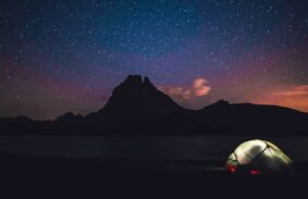 Warm tent on a starry night