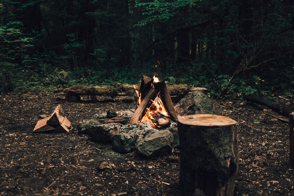 A campfire surrounded by log benches