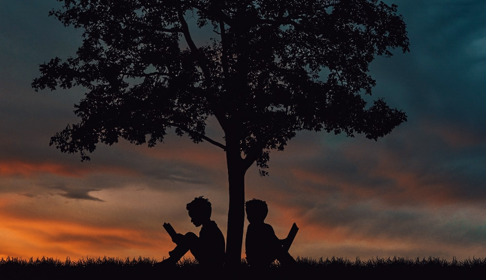 Two boys sat under a tree reading books