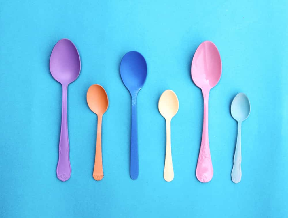 A collection of plastic spoons