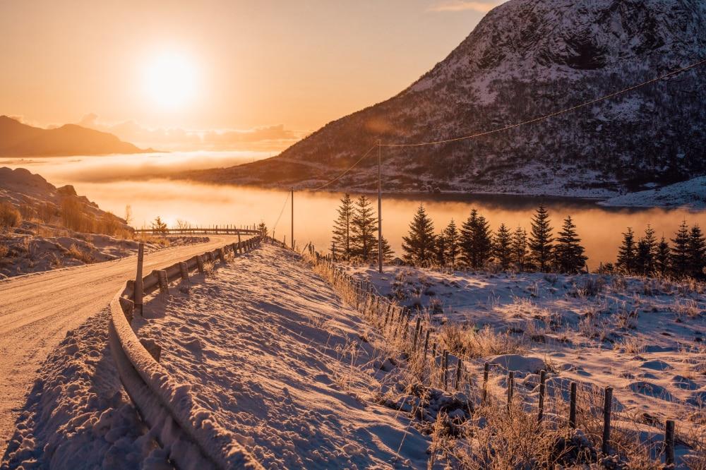 Sunrise over a snowy landscape