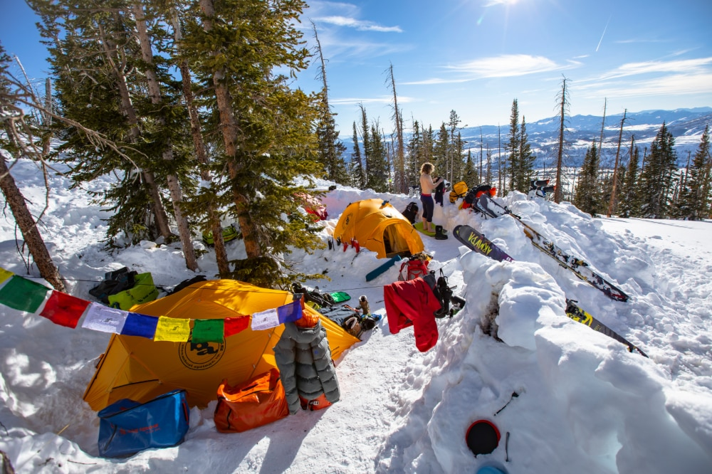 Campers using the Big Agnes Battle Mountain, one of the best cold weather tents, whilst on a ski trip