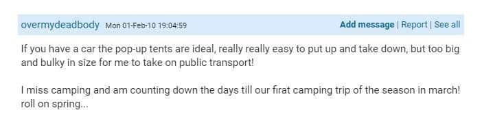 Mumsnet review of pop up tents which describes how they are great for car camping