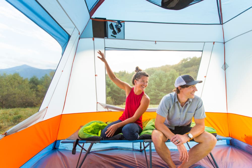 The Eureka Copper Canyon cabin tent has large mesh windows for a gentle breeze through the tent