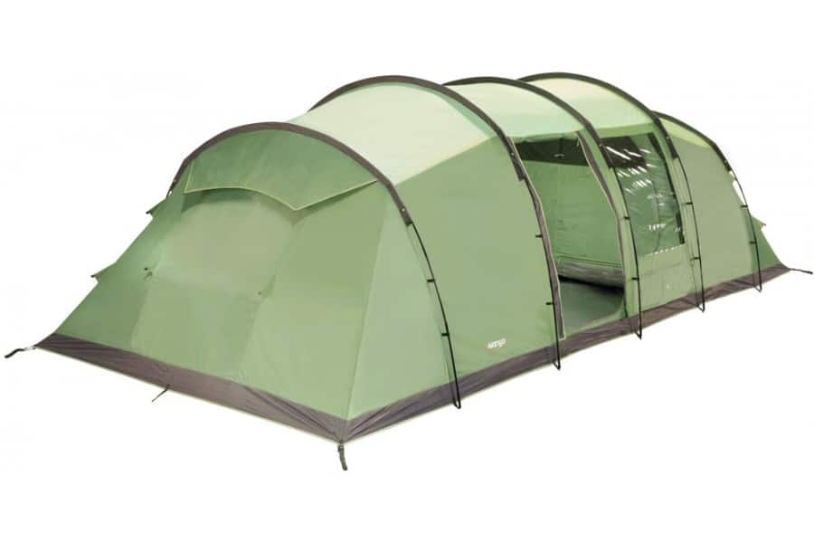 The Vango Odyssey tent, our pick for the best 3 room tent when it comes to bad weather