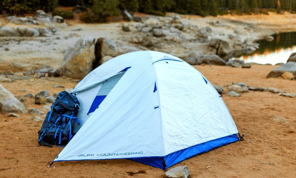 The ALPS Mountaineering Lynx Tent outside - highly livable and ready for backpacking and hiking