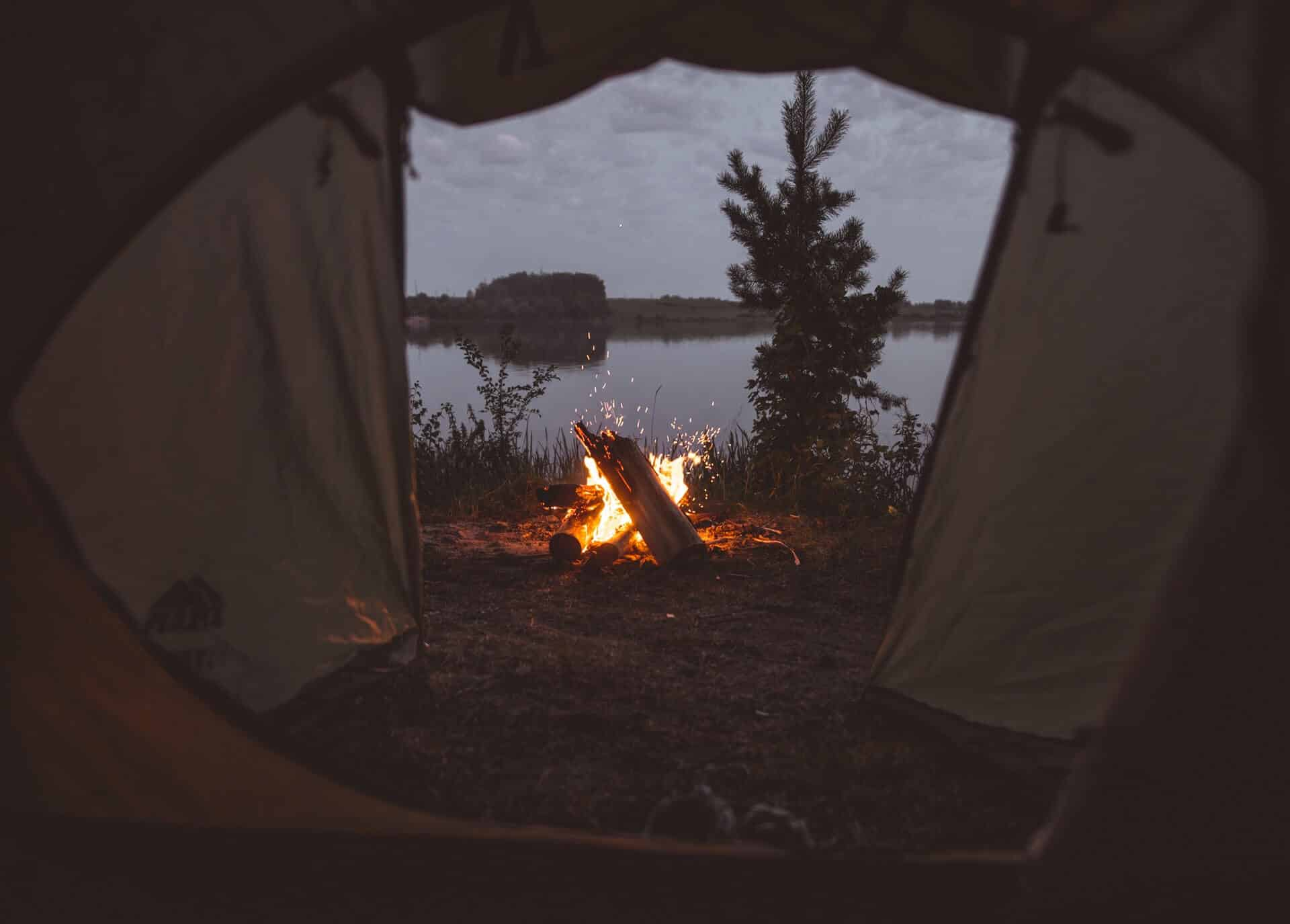 View through a two room tent to the outside