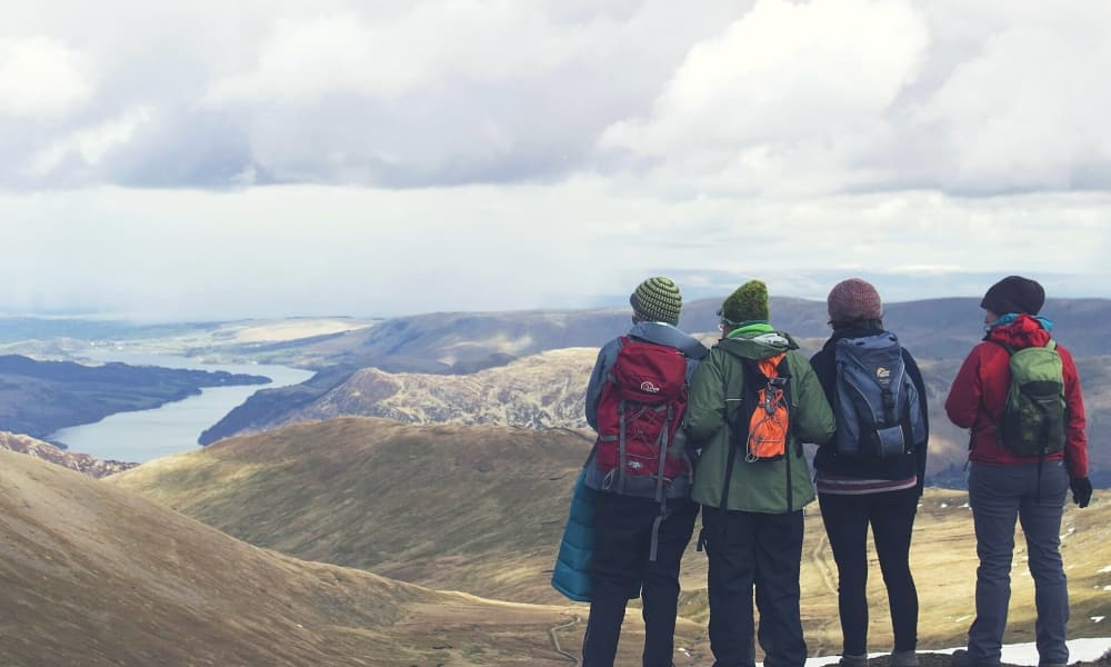 Four adventurers at the peak of a hill, looking out over the view