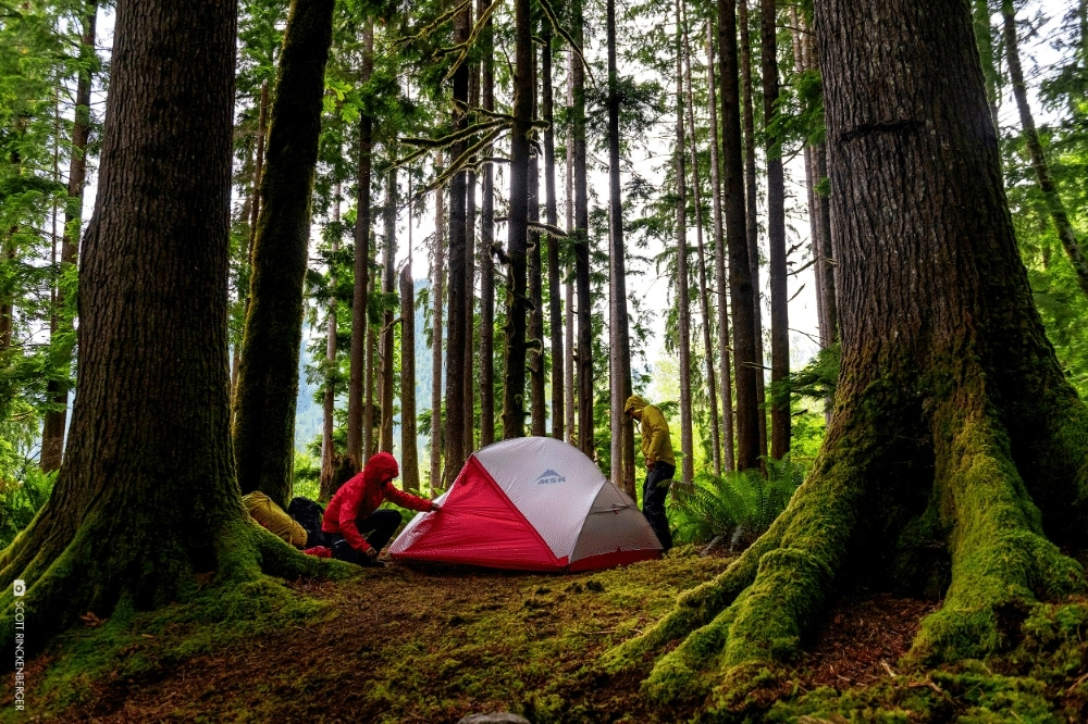 The MSR Hubba Hubba 2 person tent being tested out camping in a forest