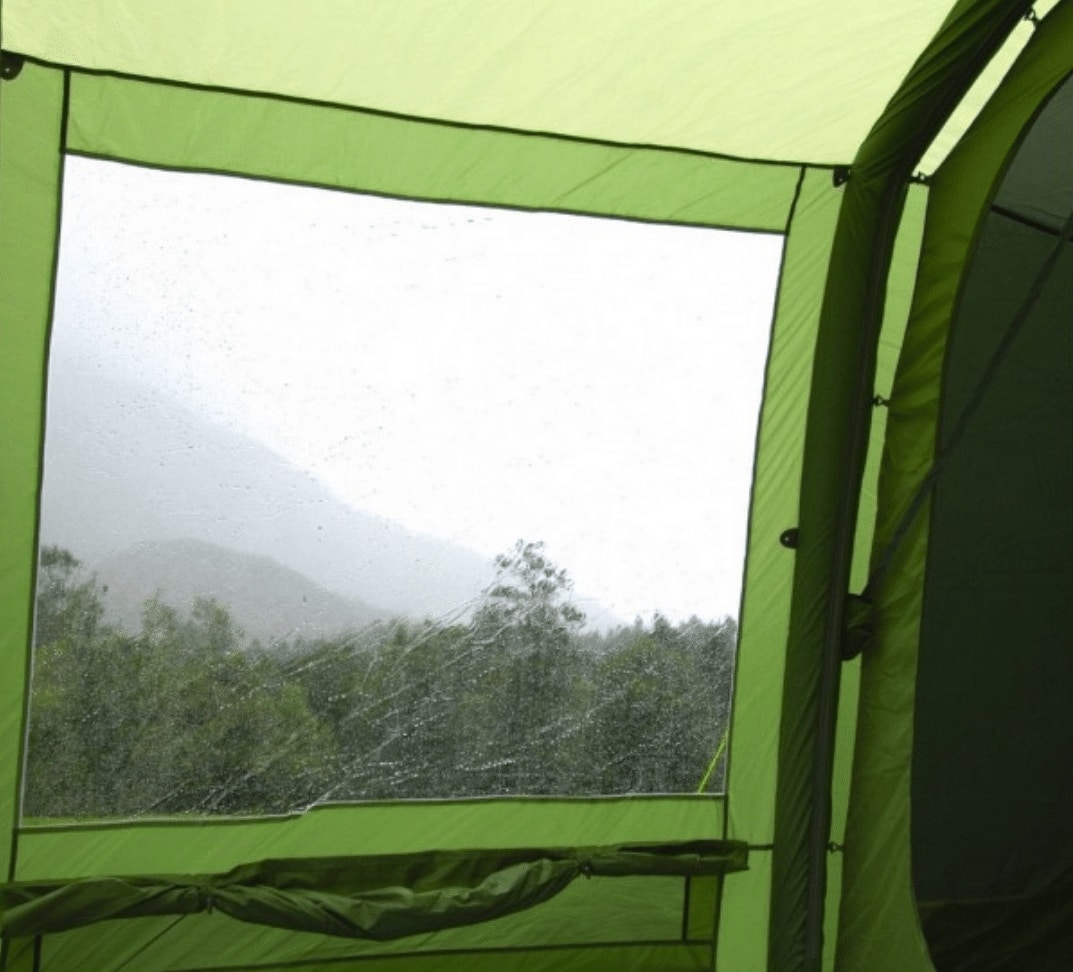 The Diamond Clear Windows in the Vango Odyssey Air 500 Villa, one of our picks for best 5 person tent models