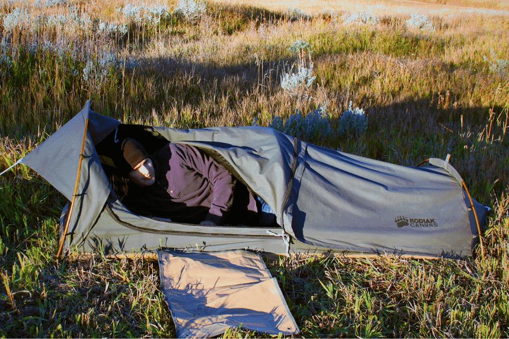 A camper in his Kodiak Swag