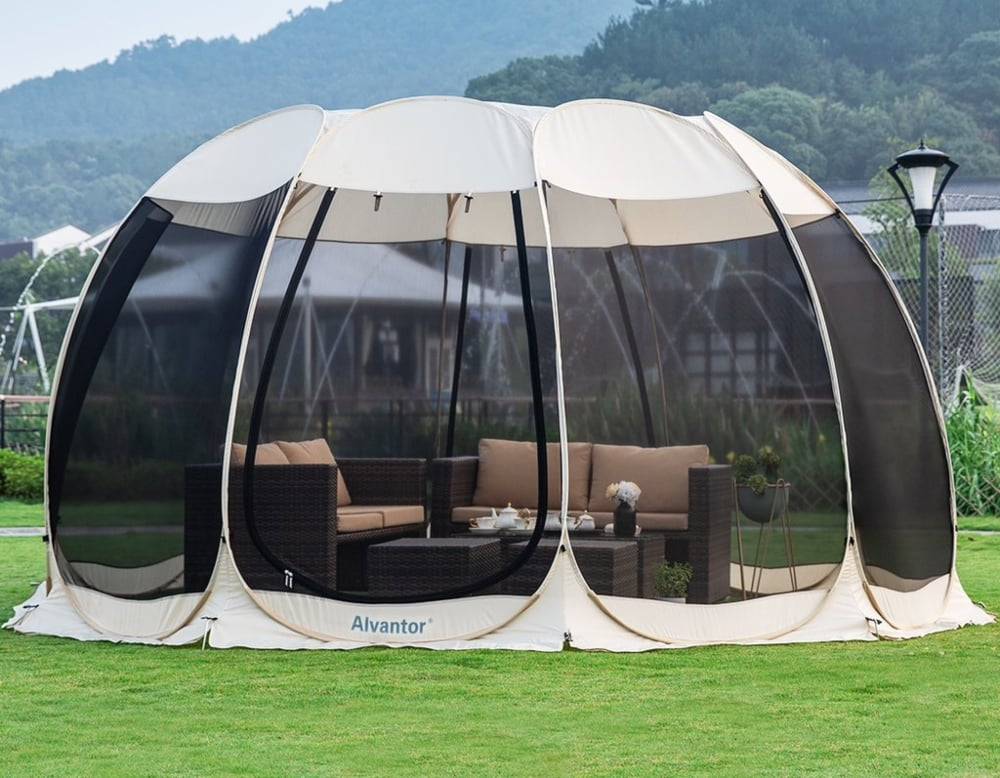 The Alvantor screened tent has plenty of interior space in the shelter for the family and a picnic table