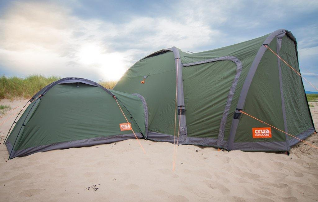 The Crua Core tent with a 2 room tent setup by attaching an extra tent to the main room