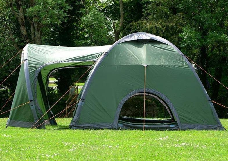The Crua Core tent with the vents on the main room and the side room uncovered to get a summer breeze and can be extended into a 2 room tent