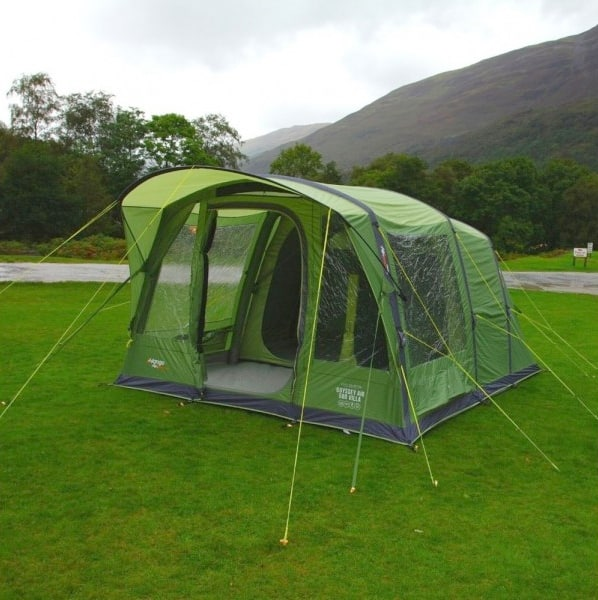 The 5 person Vango AIrbeam Odyssey 500 tent doesn't have tent poles. It just needs inflated and then the guylines pegged down to set up the tent.