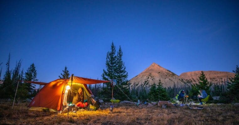 Campers settling down for the night in the Big Agnes Copper Spur