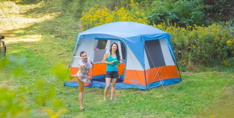 Two campers outside their Copper Canyon